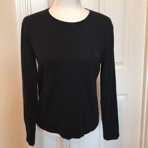 Jones New York Large Lon Sleeve Black T-shirt NWOT